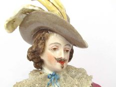 A 19th Century Dresden figure of cavalier, restoration to base,