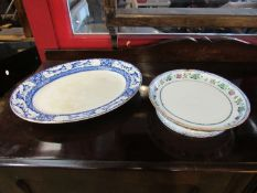 A 19th Century Newstone cheese stand and meat plate (2)