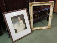 Portrait mezzotint of a lady and a gilt and white frame,