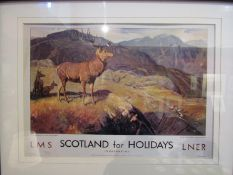 """An LMS Railway printed poster 'Scotland for Holidays - It's quicker by rail"""", framed and glazed,"""