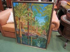 Maynard Hale? framed acrylic on canvas depicting palm trees and bridged waterway, tear to canvas,