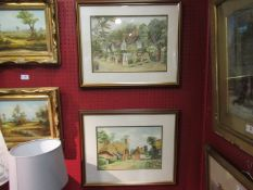 ALEC WAUGH: Two watercolours depicting thatched cottages, framed, both signed,