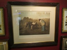 "After Jean Francois Millet: A print entitled ""The Gleaners"" in oak frame and glazed,"