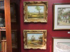 A pair of gilt framed oils on board depicting landscape scenes, signed D.