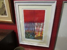 A modernist abstract print in reds and yellows, signed lower right, framed and glazed,