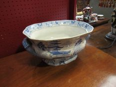 A Victorian blue and white Staffordshire tureen