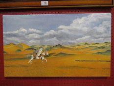 A painting of an Arabian horseman in desert,