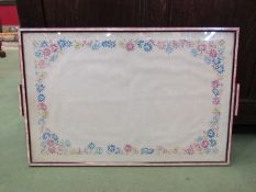 A Sadlers Art Deco tray with embroidered decoration