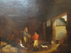 A large maple framed oil painting of stable interior, approximately C.1780. Relined.