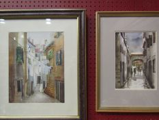 Two 20th Century watercolour paintings of street alley scenes,