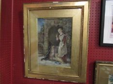 LADY LOUISA CHARTERIS (XIX/XX) A gilt framed & glazed watercolour titled 'Rivals' depicting a young