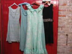 Two 1960's cocktail dresses and two full length dresses pale blue beaded,