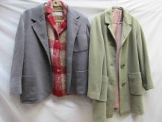 """A """"Cleggs"""" Royal Mill pure wool mid green 1950s jacket with two others"""