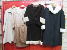 Two 1960's beige dress suits including Paul Jonas two tone with large buttons,