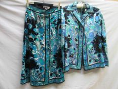 An Emilio Pucci silk and velvet skirt suit in a turquose,