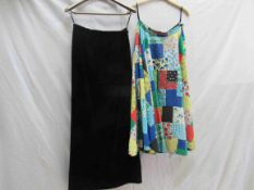 A 1950's swing skirt with a colourful multi patchwork design and a Londonus by Sybil Zelker black