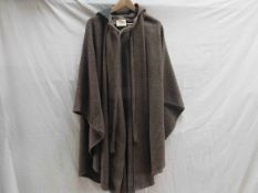 A 1970's Laura Ashley brown wool hooded cape,
