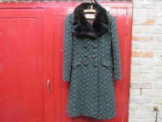 An early 1970's Windsmoor wool blue/green coat,