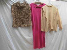 """A """"Monix"""" late 70's electric pink V neck jersey slip dress,"""