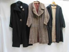 Three 1930's ladies coats,