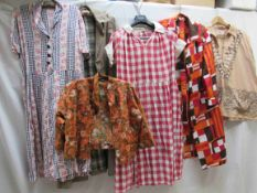 Six items of 1950's/60's clothing including a orange,
