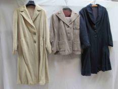 Three items of ladies 1930's and 1940's clothing, a cream herringbone pattern coat,