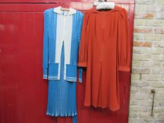 """A 1970's """"MEDICI"""" Sport"""" knitted blue and white two piece skirt suit and a Pauline Wynne Jones"""