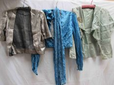 Three 1930's evening jackets gold lame,