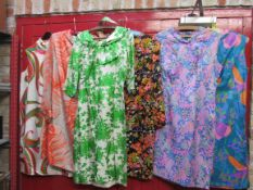 Six 1960's pure silk colourful day dresses, Paul Jones London and Susan Small,
