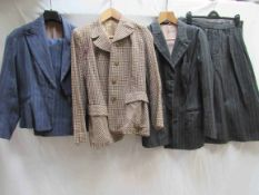 Two 30's/40's ladies wool suits, mid blue chalk stripe