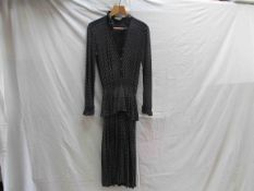 A Jean Muir 1970's navy and white ivy leaf pattern all rayon full length dress with frill collar,