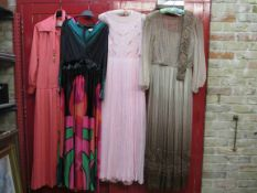 Four 1960's full length evening dresses, pale pink chiffon with gold bead detail,