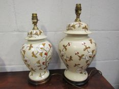 Two floral design ceramic table lamp bases