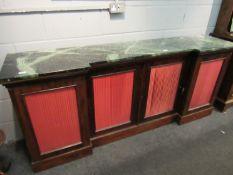 A Victorian walnut breakfront sideboard,