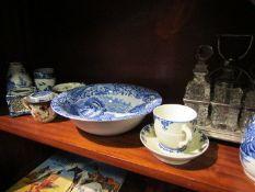 A small quantity of blue and white china including a Copeland Spode bowl and a six piece cruet set