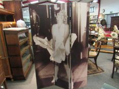 A three fold modesty screen with image of Marilyn Monroe,