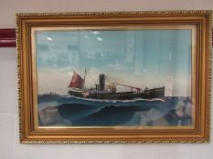 A framed and glazed oil on board depicting WW2 minesweeper, painted by crew member,