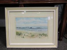 JOHN WAINE: A watercolour of Norfolk coast, framed and glazed,