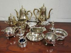 A quantity of silver plated wares including coasters, dishes, sauce boats,