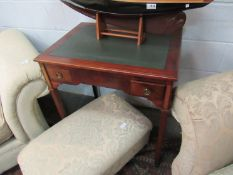 A French fruit wood 19th Century writing desk of two drawers on square tapering brass cap footed