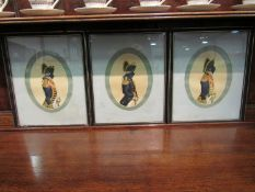 Three historical portraits in Hogarth frames of naval officers, Admiral, Full Dress,