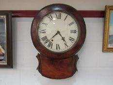 An American drop dial wall clock in mahogany case with Roman numerals,