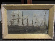 A late 19th/early 20th Century oil on board, dockyard scene with barges,