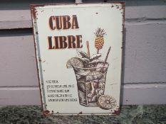 "A ""Cuba Libre"" cocktail tin plate advertising sign,"