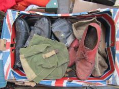 Two boxes of WWII and later miltaria including gas mask bag,