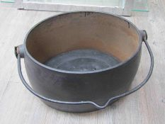 Two WWII painted wash tubs dated 1943, a cooking pot bearing WD broad arrow,