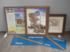 "A quantity of pictures and prints including ""Corporal's Mess"" metal signs and WWI discharge"