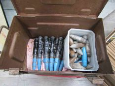 A 1955 dated ammunition case and a box containing various deactivated / inert rounds