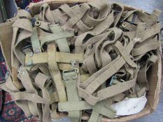 A box of 1937 pattern and later webbing including water bottle holders