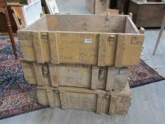 Three WWII USAAF wooden ammunition cases,